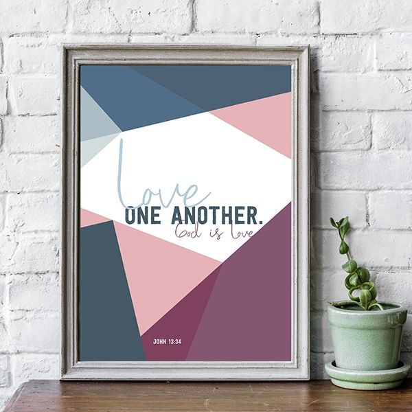 Poster bunt - Love one another (rosa blau)