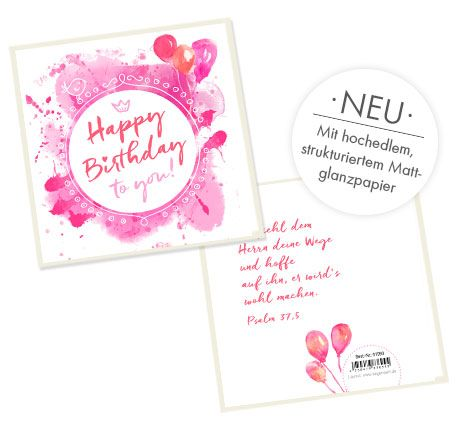 Doppelkarte quadratisch - Happy Birthday (rosa)